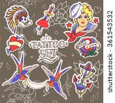 set of old school tattoo... | Shutterstock .eps vector #361543532