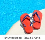 pair of red flip flops on the... | Shutterstock . vector #361567346