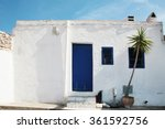 old house white wall with blue... | Shutterstock . vector #361592756