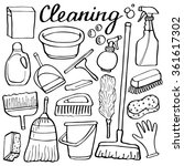 cleaning tools set. hand drawn... | Shutterstock .eps vector #361617302