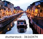 View of the Milan canal. Milan, Italy - stock photo