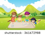 children drawing on paper in...   Shutterstock .eps vector #361672988