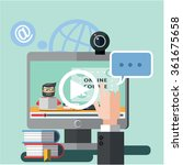 webinar internet flat color... | Shutterstock .eps vector #361675658