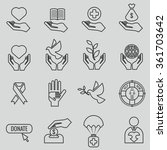 charity and donation line icons | Shutterstock . vector #361703642