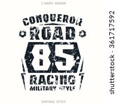 car racing badge with shabby... | Shutterstock .eps vector #361717592