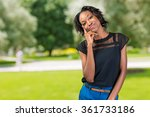 pretty black african woman... | Shutterstock . vector #361733186