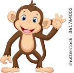 cute monkey waving | Shutterstock .eps vector #361764002