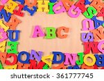 plastic colored alphabet... | Shutterstock . vector #361777745