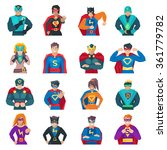 superhero icons set with strong ... | Shutterstock .eps vector #361779782