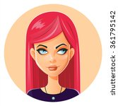 beautiful face.pink hair.... | Shutterstock .eps vector #361795142