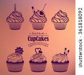 cupcakes silhouette set. set of ...   Shutterstock .eps vector #361818092