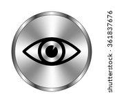 eye   vector icon   metal button
