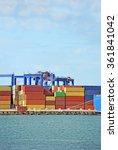 port cargo crane and container... | Shutterstock . vector #361841042
