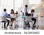 manager helping staff in busy... | Shutterstock . vector #361843682