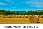 big roll harvested straw on the ...