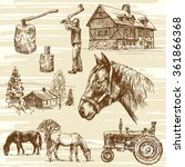 Farm And Horses   Hand Drawn Set