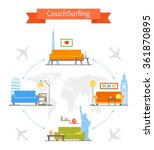 couch surfing and sharing... | Shutterstock .eps vector #361870895