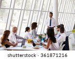 hispanic businessman leading... | Shutterstock . vector #361871216