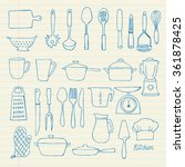 kitchen utensils doodle vector... | Shutterstock .eps vector #361878425