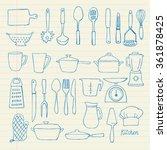 kitchen utensils doodle vector... | Shutterstock .eps vector #361878425