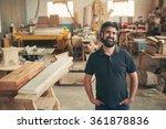 a mature carpenter standing... | Shutterstock . vector #361878836