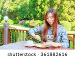 asia girl teenage and breakfast ... | Shutterstock . vector #361882616