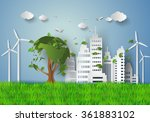 concept of eco with building... | Shutterstock .eps vector #361883102