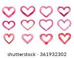 set of watercolor hearts... | Shutterstock . vector #361932302