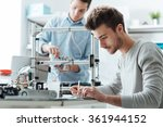 engineering students working in ... | Shutterstock . vector #361944152