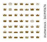set of golden vector crowns | Shutterstock .eps vector #361945676