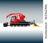 Red Snowcat With Crane  Bucket...