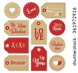 set of valentines day gift tags ... | Shutterstock .eps vector #361972916