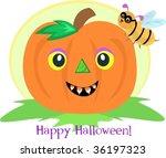 halloween pumpkin and bee vector | Shutterstock .eps vector #36197323