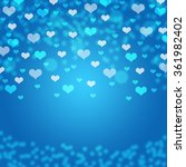 Blue Hearts Bokeh Card  ...