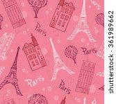 vector pink romantic paris... | Shutterstock .eps vector #361989662