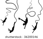 Set of editable vector silhouettes of women bungy jumping - stock vector
