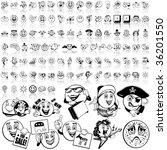 smilies set of black sketch.... | Shutterstock .eps vector #36201550