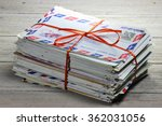 bundle of old letters on wooden ... | Shutterstock . vector #362031056