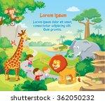 zoo with wild african animals ... | Shutterstock .eps vector #362050232