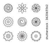 flower icon set  line