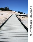Wooden deck path - stock photo