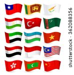 asia country flying flags set... | Shutterstock .eps vector #362088356
