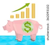 origami piggy bank pig with... | Shutterstock .eps vector #362093102