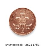 Coin Isolated On White Two Pence