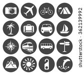 travel icons set  16 signs on... | Shutterstock . vector #362139992