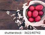 basket with easter cake and red ... | Shutterstock . vector #362140742