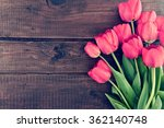Bouquet Of Red Tulips On A...
