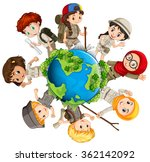 children caring for the earth... | Shutterstock .eps vector #362142092