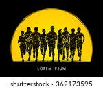 marathon runners  crowd of... | Shutterstock .eps vector #362173595