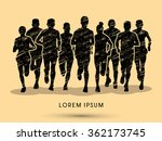 marathon runners  crowd of... | Shutterstock .eps vector #362173745
